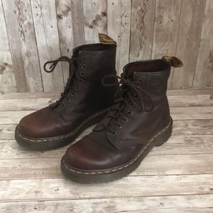 Dr. Martens brown leather lace up boots